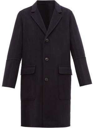 Ami Single Breasted Wool Blend Overcoat - Mens - Navy