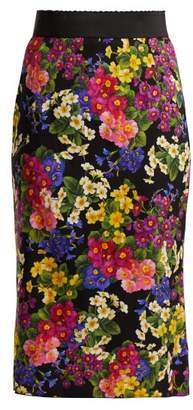 Dolce & Gabbana Floral Print Silk Blend Skirt - Womens - Black Multi