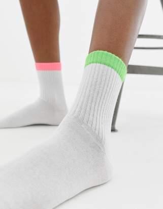 Asos DESIGN contrast neon ankle socks