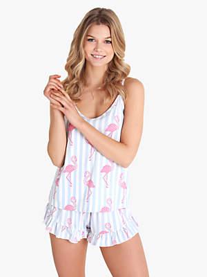 Chelsea Peers Stripe Flamingo Camisole And Short Pyjama Set c9dfbd3712a4b