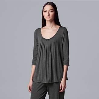 Vera Wang Women's Simply Vera Pajamas: Basic Luxury Pleated Pajama Top