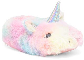Little Girls Rainbow Unicorn Slippers