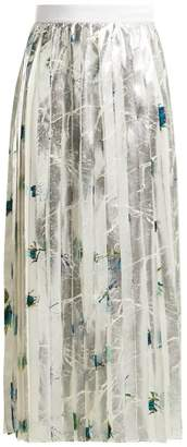 MSGM Pleated Floral Print Crepe Skirt - Womens - Silver