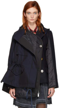Sacai Navy Melton Hooded Jacket