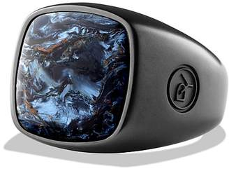 David Yurman Exotic Stone Ring with Pietersite in Black Titanium $575 thestylecure.com