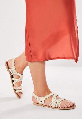 Missguided White Rope Toe Post Cross Over Sandals