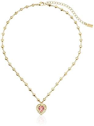 Swarovski 1928 Jewelry Gold-Tone Pink Genuine Crystal Heart Pendant Necklace