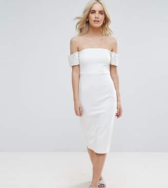 Asos Embellished Cuff Midi Bodycon Dress
