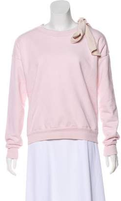 Frame Bow-Accented Knit Sweatshirt