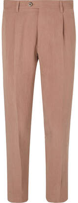 Etro Slim-Fit Pleated Lyocell-Blend Trousers - Men - Blush