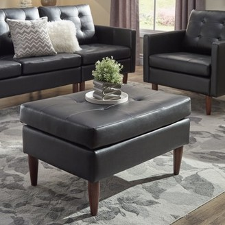 Weston Home Gilly Button Tufted Black Leather Gel Ottoman