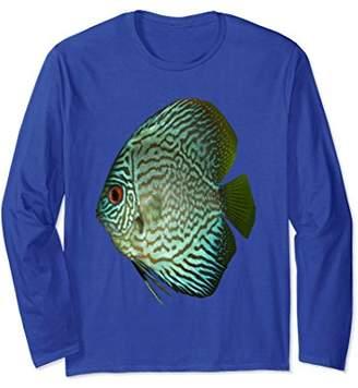 Aquarium T-shirt Blue Discus Tropical Fish Long Sleeve