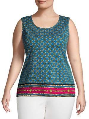 Rafaella Plus Printed Cotton Top