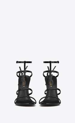 Saint Laurent Cassandra Sandal With Black Logo In Patent Leather
