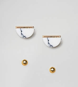 Asos Design Pack Of 2 Gold Plated Sterling Silver Faux Marble And Ball Stud Earrings