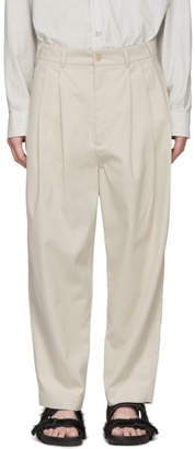 BEIGE Hed Mayner Four Pleat Trousers