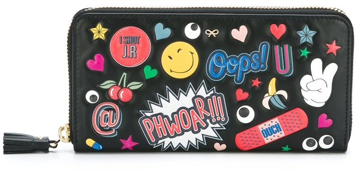 Anya Hindmarch Anya Hindmarch multiple patches zipped wallet