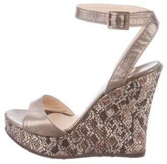 Jimmy Choo Metallic Embellished Wedge Sandals