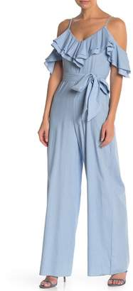 Flying Tomato Ruffled Cold Shoulder Denim Jumpsuit