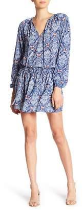 Nicole Miller Smocked Waist Print Dress
