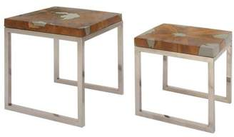 DecMode Decmode Natural 16 And 19 Inch Shatter Resin Teak Wood And Aluminum Nesting Tables - Set of 2