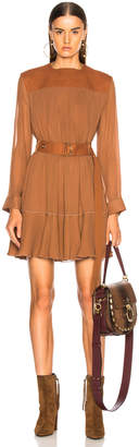 Chloé Silk Mix Mousseline Belted Mini Dress