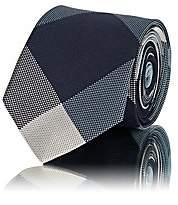 Alexander Olch Men's Diamond-Pattern Silk Necktie - Blue