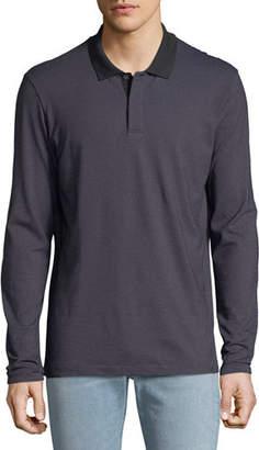 Theory Men's Gamma Jacquard Long-Sleeve Polo Shirt