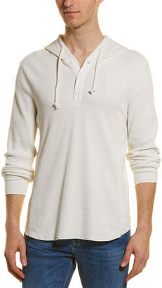Vince Waffle-Knit Henley Hoodie