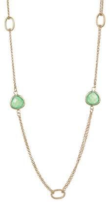 Rivka Friedman 18K Gold Clad Green Crystal Link Necklace