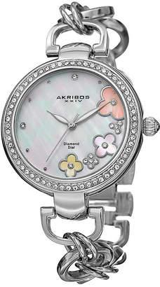 Akribos XXIV Womens White Dial Silver-Tone Fiora Bracelet Watch