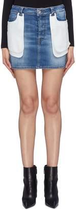 Taverniti So Ben Unravel Project Contrast layered pocket panel washed denim skirt