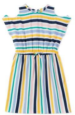 Calvin Klein Jeans Girl's Multistripe Cold-Shoulder Dress