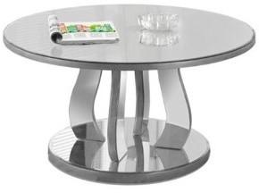 "Monarch Specialties Monarch Coffee Table 36""Dia / Brushed Silver / Mirror"