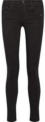 Current/Elliott The Ankle Mid-Rise Crystal-Embellished Skinny Jeans