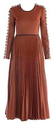 Fendi Women's Micro Pied De Poule Pleated Maxi Dress