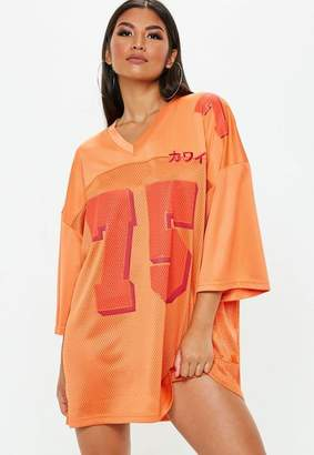 Missguided Orange Oversized Football Jersey Dress