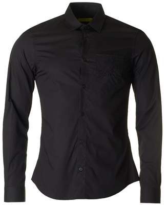 Versace Slim Fit Circle Logo Pocket Poplin Shirt