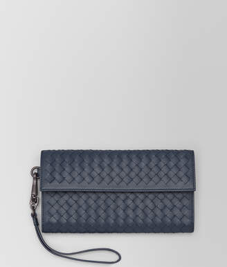 Bottega Veneta CONTINENTAL WALLET IN DENIM INTRECCIATO NAPPA LEATHER