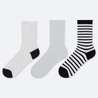 Uniqlo Women's Toproll Stripe Calf Socks (3 Pairs)