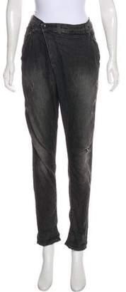 R 13 Distressed Mid-Rise Straight-Leg Jeans