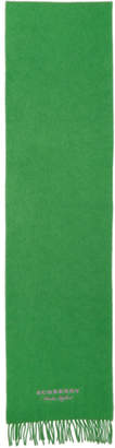 Burberry Green Cashmere Logo Scarf