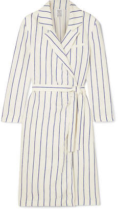 Rosie Assoulin Striped Linen Wrap Dress - White