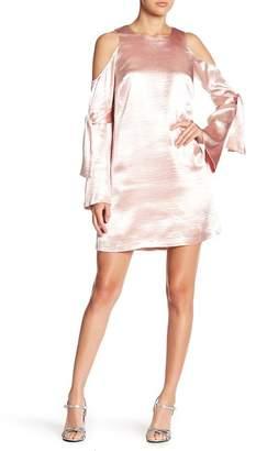 Rachel Roy Long Sleeve Cold Shoulder Satin Dress