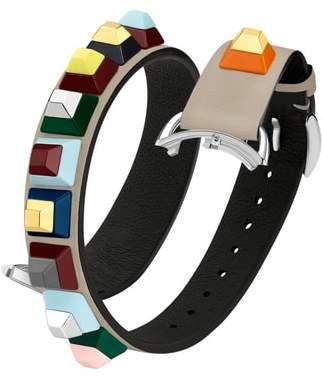 Fendi Selleria 17mm Embellished Leather Watch Strap