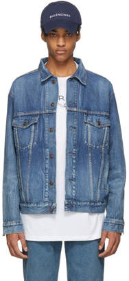 Balenciaga Blue Denim Like A Man Printed Jacket