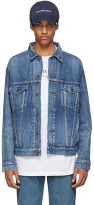 Balenciaga Blue Denim Like A Man Printed Jacket