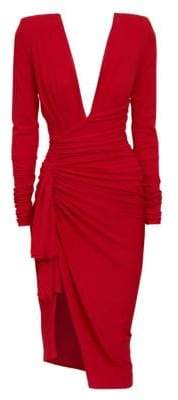 Alexandre Vauthier Stretch Jersey V-Neck Cocktail Dress
