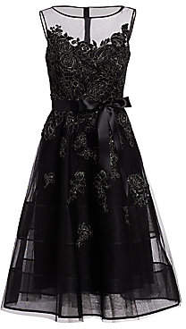 Teri Jon by Rickie Freeman Women's Neoprene Metallic Appliqué Dress