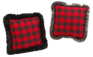 Buffalo David Bitton Gerson Company Gerson Fabric Red and Black Plaid Holiday Throw Pillows (Set of 2)